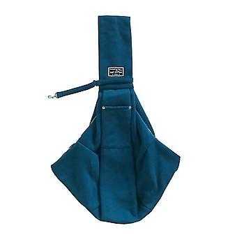 Geantă de umăr din bumbac pentru animale de companie, geantă messenger pentru animale de companie, cu curea de umăr reglabilă căptușită (albastru)