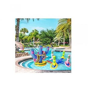 Inflatable Cross Toss Game And Cactus Ring Toss Game With 10 Rings Luau Party Supplies Game