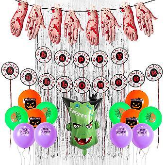 Halloween haunted house bar party decoration 22pcs body eyes hanging flag balloon set
