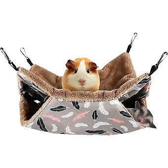 Small Pet Cage Hammock Hanging Bed For Small Animals Hammock Bedding(Plumage)