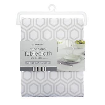 Country Club PVC Tablecloth, Geo Light Grey