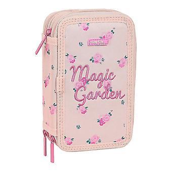 Triple Pencil Case Safta Magic Garden Light Pink (36 Pieces)