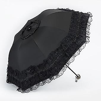 Lace women rain umbrella sun paraguas mujer black parasol folding princess guarda chuva invertido uv protection decoration