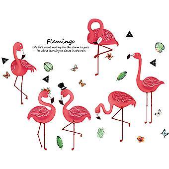 rød flamingo vegg klistremerke hjem dekal (størrelse: 135cm x 73cm)