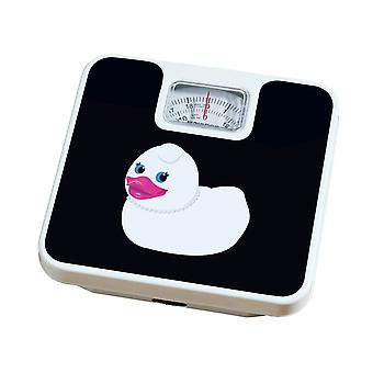 Escala de banheiro Diamante pato 120kg peso máximo escala preto e branco