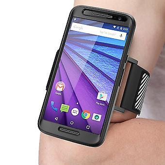 SUPCASE Motorola Moto G (3rd Generation) flexibel Sport Armband och mål Combo - svart