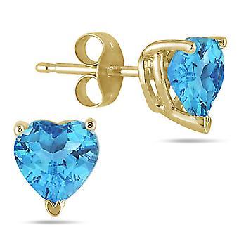 Genuine Heart-Shape Blue Topaz 4mm Earrings, 14K Yellow Gold