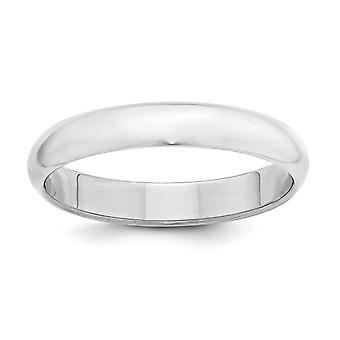 925 Sterling Silver Solid Polished Half Round Engravable 4mm Half-Round Band Ring - Ring Size: 4 to 13.5