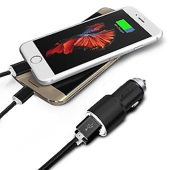 (Black) Dual Port Aluminium Car Charger Adaptor (3.1A/24W) & 2 x 1 Meter Micro-USB Data Cable For Blu Tank Xtreme Pro