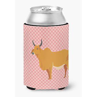 Carolines Treasures  BB7825CC Zebu Indicine Cow Pink Check Can or Bottle Hugger