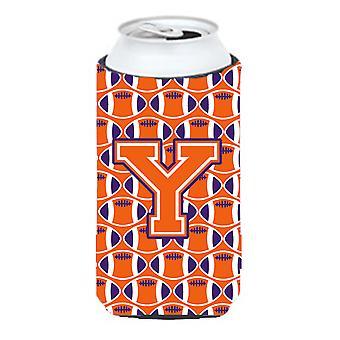 Letter Y Football Orange, White and Regalia Tall Boy Beverage Insulator Hugger