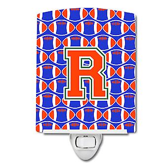 Letter R Football Green, Blue and Orange Ceramic Night Light