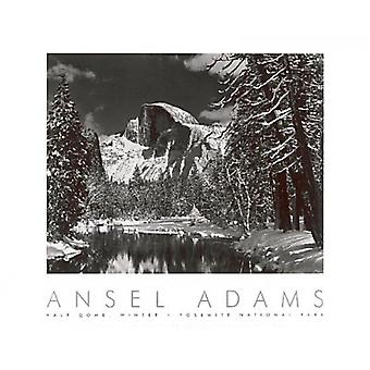 Half Dome Merced River Winter Poster Print by Ansel Adams (30 x 24)