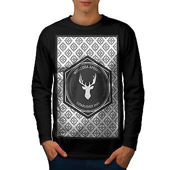 Wellcoda Deer Men BlackLong Sleeve T-shirt   Wellcoda