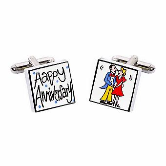 Happy Anniversary Cufflinks by Sonia Spencer, in Presentation Gift Box. Hand painted
