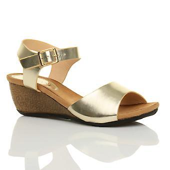 Ajvani womens platform mid heel wedge work smart peep toe shoes sandals