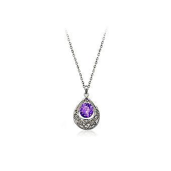 Womens sølv lilla Teardrop halskjede hjertet BG1656