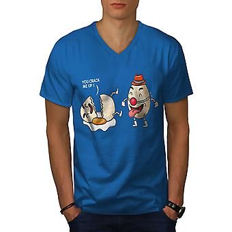 Funy Laughing Clown Men Royal BlueV-Neck T-shirt | Wellcoda
