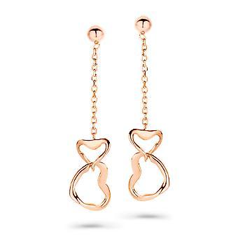 Orphelia srebro 925 kolczyk Rosegold łańcucha z dwa serca ZO-7179/RG