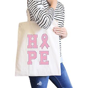 Hope Pink Ribbon Natural Canvas Bag Gift For Breast Cancer Survivor