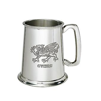 Walesiska draken 1 Pint tenn Tankard