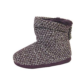 Coolers Womens Two-Tone Knitted High-Top Bootie Slippers