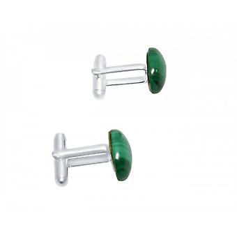 Herren - Manschettenknöpfe – 925 Silber – Malachit – Grün – 16 mm