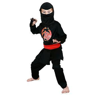 Stealth Ninja japansk kriger sort Assassin bog uge drenge kostume 3-5
