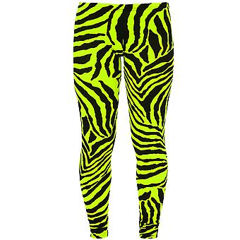 Childrens Animal Leopard Bright Neon Florescent Zebra Print Stretch Leggings