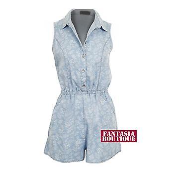 Ladies Denim Floral Print mønster skjorte krage lommer kvinners Playsuit