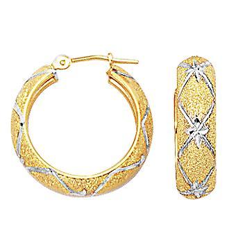 10 k 2 тона белого и желтого золота Diamond Cut текстурированные круглые серьги обруча, диаметр 22 мм