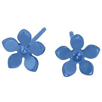 Ti2 Titanium 8mm Five Petal Stud Earrings - Aqua Blue