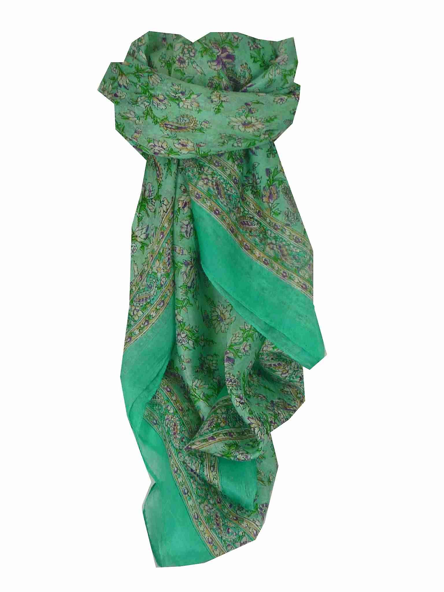 Mulberry Silk Traditional Square Scarf Ela Aquamarine by Pashmina & Silk
