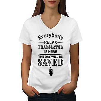 Translator Job Women WhiteV-Neck T-shirt | Wellcoda