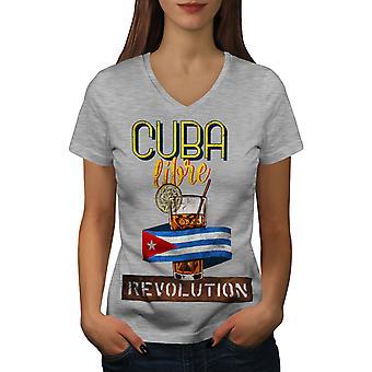 Libre Glass Women GreyV-Neck T-shirt   Wellcoda