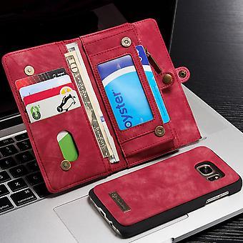 CASEME Samsung Galaxy S7 Retro läder plånboksfodral - Röd