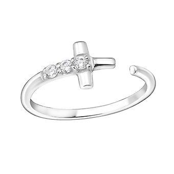 الصليب - 925 الجنيه الاسترليني خواتم مرصعة بالجواهر الفضة - W15063x