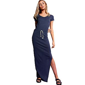 SHN Navy Blue Midi Dress With Draw String Waist And Side Split