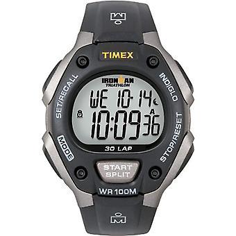 Timex Ironman T5E901 wrist watch, men's chronograph resin strap, grey/black