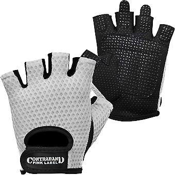 Contraband Sports 5307 Pink Label Diamond Mesh Weight Lifting Gloves - White