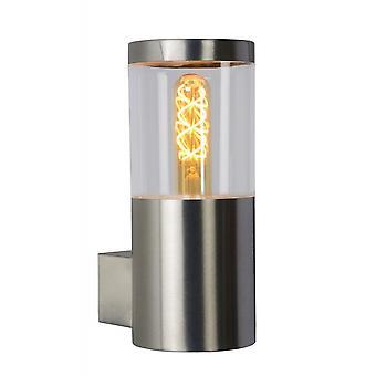Lucide Fedor Modern Cylinder Steel Satin Chrome Wall Light