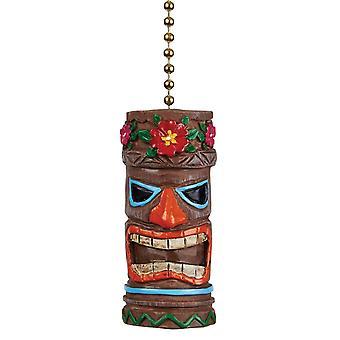 Tiki Head Man Ceiling Fan Light Dimensional Pull