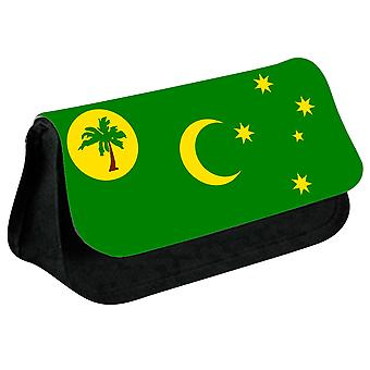 Cocos Islands Flag Printed Design Pencil Case for Stationary/Cosmetic - 0204 (Black) by i-Tronixs