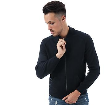 Mens Ben Sherman Knitted Zip Neck Knit In Navy- Zip Fastening- Ribbed Cuffs And