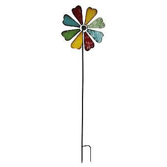 Colorful Metal Art Flower Wind Spinner Garden Stake