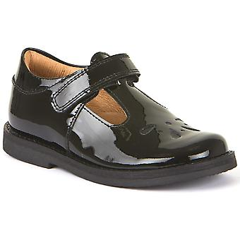 Froddo Girls G3140073-1 T-bar School Shoes Black Patent