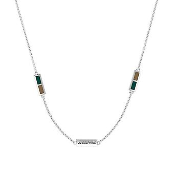 Jacksonville University Sterling Silver Engraved Triple Station In Necklace Green and Brown