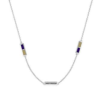 James Madison University Foundation Sterling Silver Engraved Triple Station Necklace In Purple and Brown