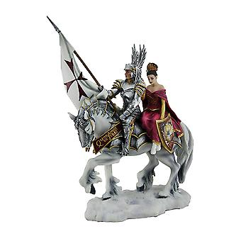 Faith By Ruth Thompson Mounted Templar Knight and Lady Statue