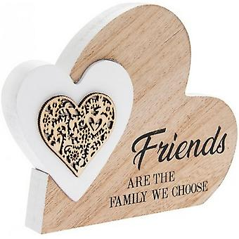 Friends Are Family Wooden Heart Block Ornament